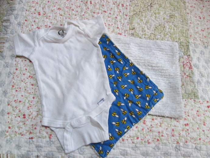 Infant Baby Boy Gerber Onesie 3-6 Mo. w/ Burp Cloth 100% cotton (2 Pc.) Add-on