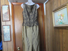 Womens Long Marie St. Claire Beaded Sequin Dress  Size 10 Sleeveless Formal Olive Green