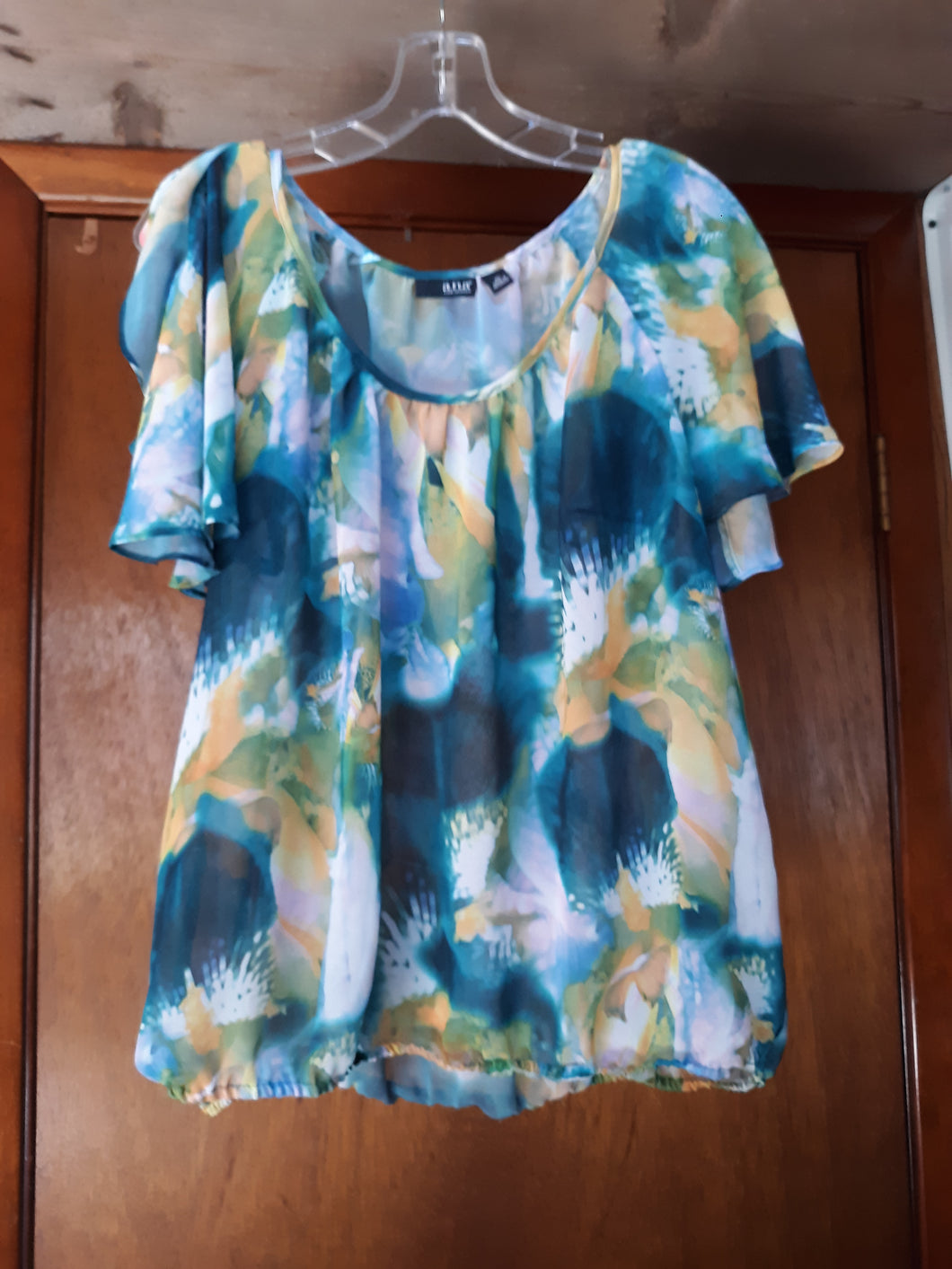 Womens Sheer Slit Sleeve Blouse Size XL Multicolored