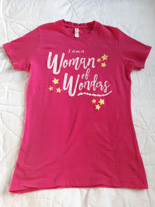 Womens Snug Fitting Tee Shirt Hot Pink Size M