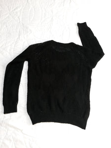 Womens Crocheted Knitted Long Sleeve Sheer Pull Over Sweater Blouse M Medium