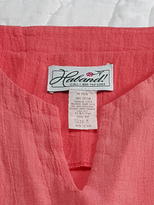 Womens Beautiful Vintage Peach Blouse Size M Short Sleeve Ribbed
