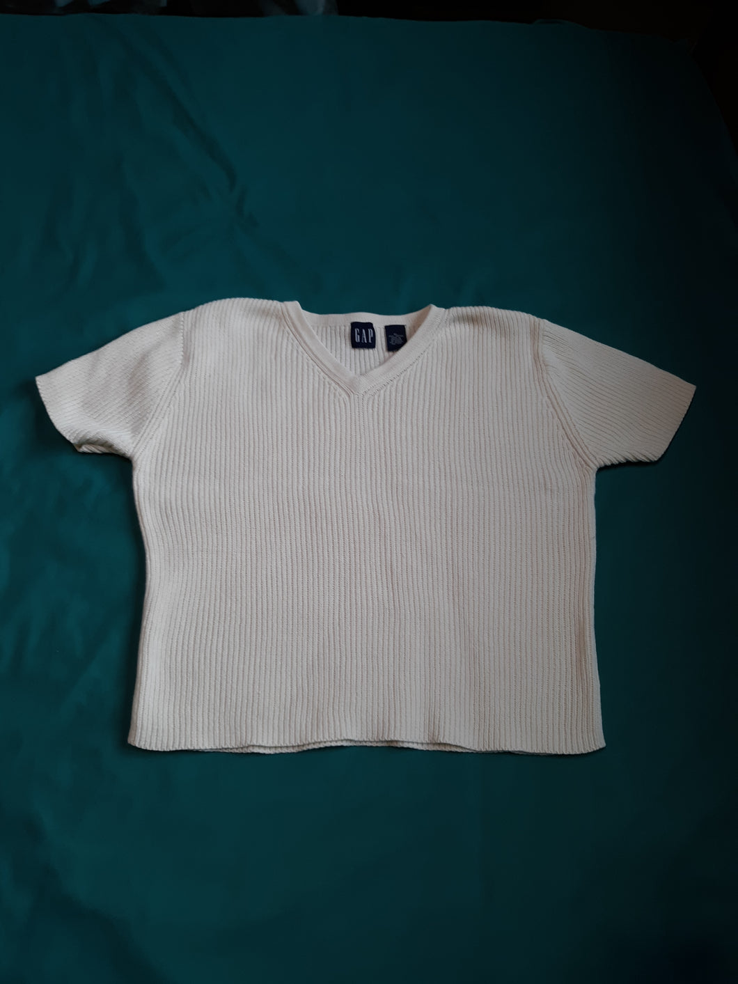 Womens GAP Blouse Knitted Short Sleeve Size XL Creme 100 % cotton