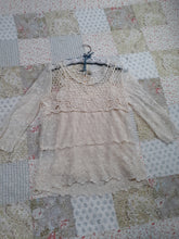Womens Beautiful Adiva Lace Blouse Size M Medium Creme Color
