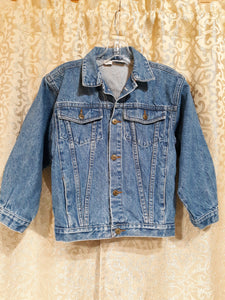 Childrens Jean Jacket Size M 100% Cotton Button Up