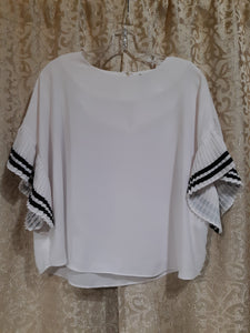 Womens Pleated Ruffled Sleeve Blouse Size S