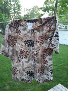 Womens Vintage Short Sleeve Blouse Multicolored Size M