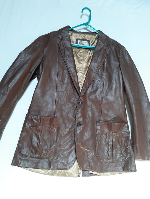 Mens Vintage Genuine Leather Silton Jacket Size M Tall