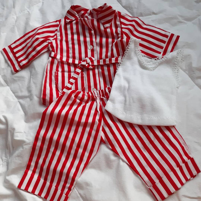 Childrens Toy Doll Outfit 3 PC Pajama Set