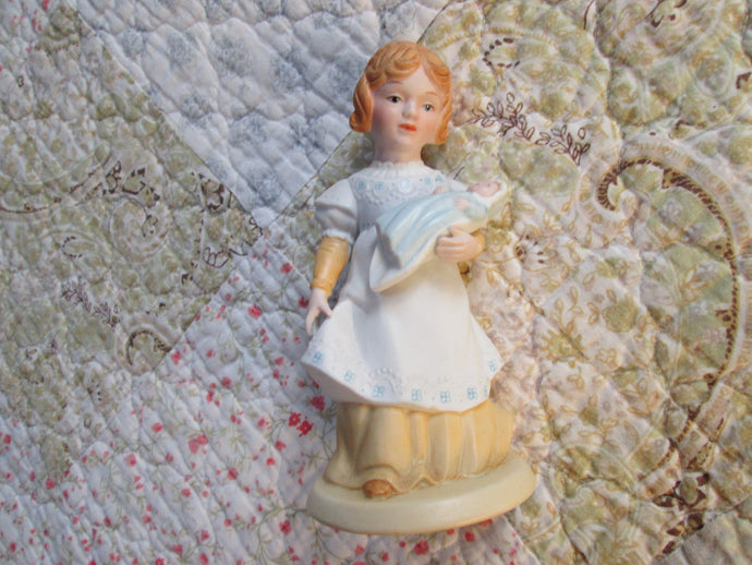 Vintage Porcelain AVON Figurine 1981 A Mothers Love Girl & Baby