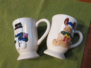 Cute Pottery Mugs Cups with Winter Design