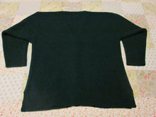 Womens Vintage Green Button-up Long Sleeve Sweater L/XL Knit Crocheted Style