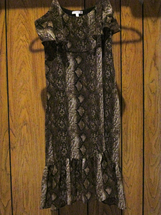 Womens Flounce Top Party Dress BUFFALO David Hitton M Medium Snake Skin Pattern
