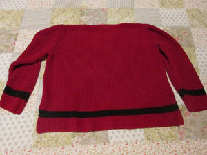 Womens Crazy Horse Sweater XL Knitted Crocheted Style Red Liz Claiborne Co. Blouse