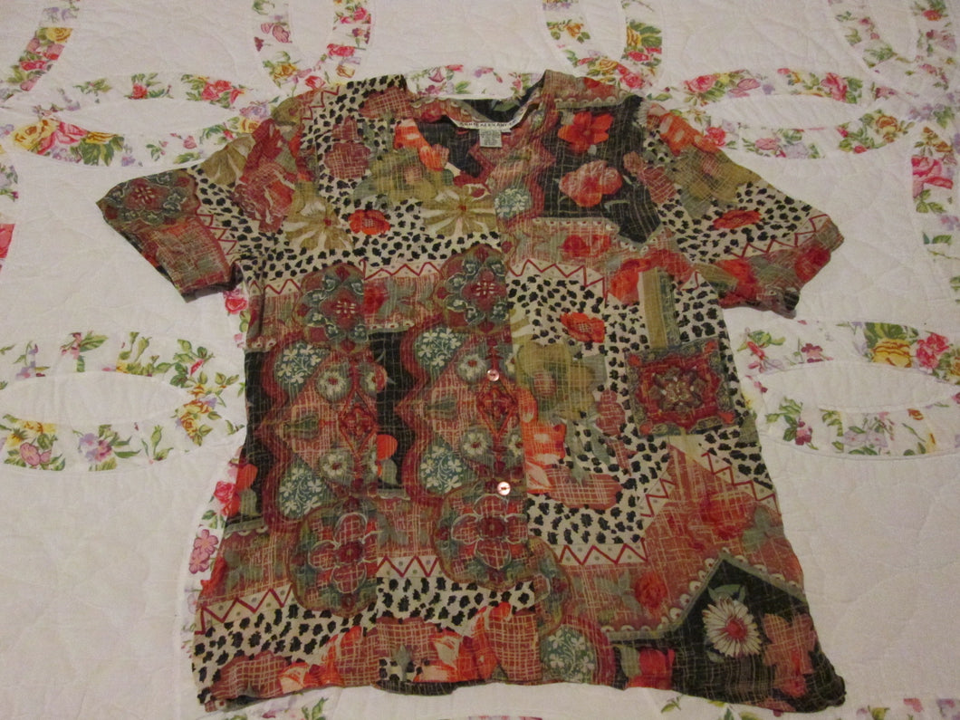 Womens Vintage Blouse Size Large LG 100% Silk Annie Alexander Multicolor Short Sleeve