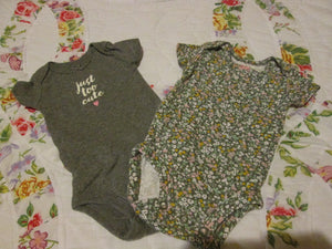 Infant Baby Girl One Piece Undie Shirts Size NB Carters (2 Pcs)