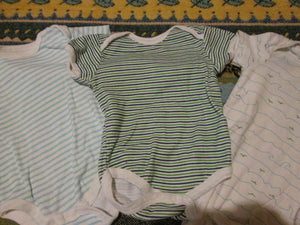 Infant Baby Boy One Piece Button up Bottom Rene Rafe LG Size 6-9 Months (3 Pcs)
