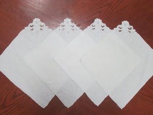 Vintage Place Mats Embroidered Floral Design Antique White (4 Pc) Stunning!