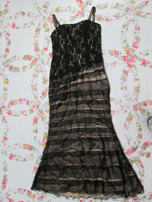 Womens Long Black Beaded Dress Formal Gown Size 10 Gorgeous style! 36-38/C