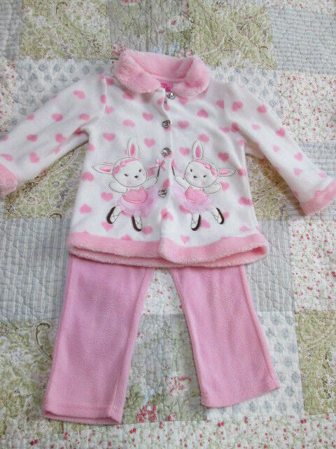 Childrens Girls 2 Pc Pant Set Size 2T Your Heart pink ballerinas & heart buttons