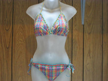 Womens Multicolored 2 Pc Bikini Size Large L Adjustable Ties