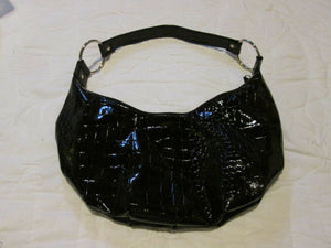Womens Black Patent Leather Shoulder Purse Zipper Opening Accessory