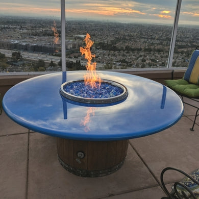 E.g. of a Beautiful Wine Barrel Fire Pit Table: Crystal Lake Edition