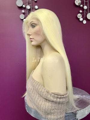 Blond Lace Front Wig | Brazilian Human Hair| 20 inches| Color 613 Platinum Blonde | Straight Hair | 150% density| Medium Cap size