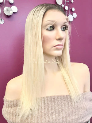 Blond Full Lace Wig | Brazilian Human Hair| 14 inches| Color 4/613 Roots w/ Blonde | Straight Hair | 130% density| Medium Cap size