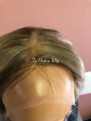 Full Lace Wig in Light Ash Blonde Balayage and Brown Rooting