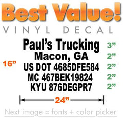 us dot vinyl number sticker with company name and MC number