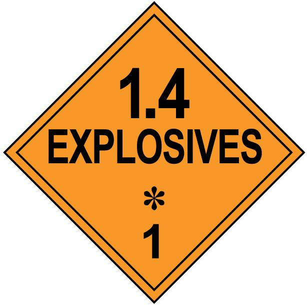 Class 1.4 Explosive Hazmat Placard Decal or Magnetic Sign Placard