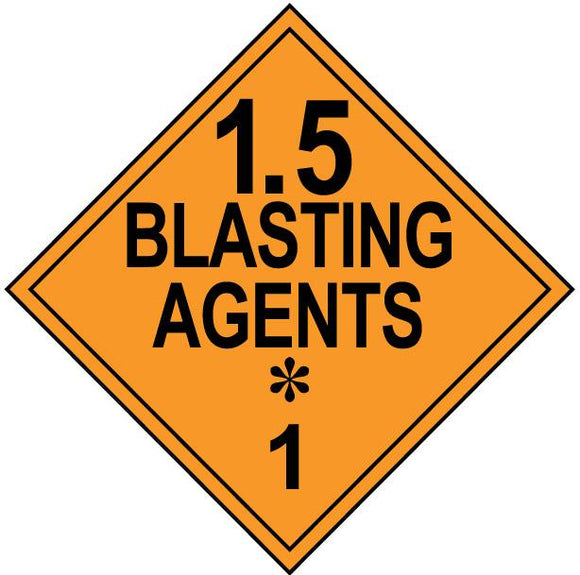 class 1 5 blasting agents hazmat placard decal or magnetic sign