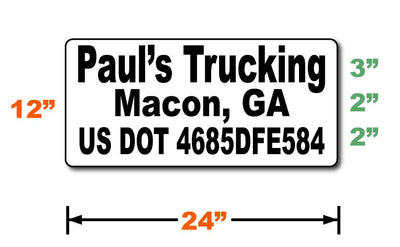 Dimensions layout for 24 inch by 12 inch custom USDOT magnetic signs with black text.