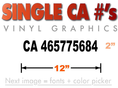 CA number sticker for California authority requirements