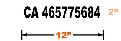 CA Number Decal 12X2