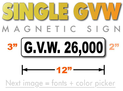 GVW Number Magnet Gross Vehicle Weight 12x3