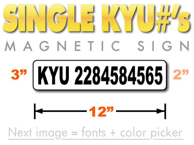KYU number magnetic sign
