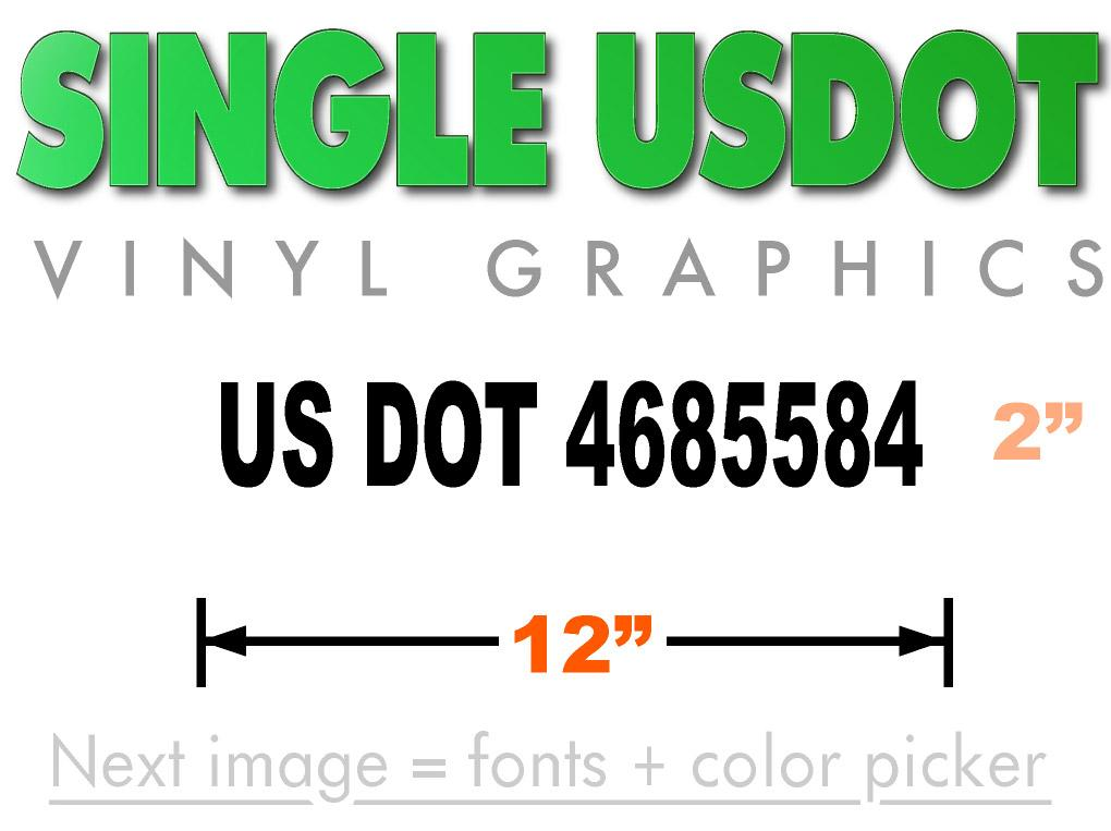 12 inch by 2 inch US DOT sticker in black lettering and is visible from 50 feet.