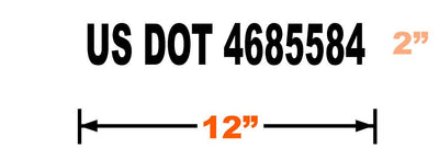 Dimensions of 2 inch tall (meets minimum requirements) USDOT vinyl decal with black lettering.