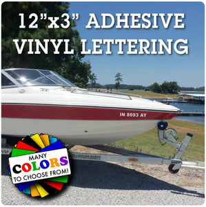 "Recreational Boat Number Registration Sticker 3""x 12"""