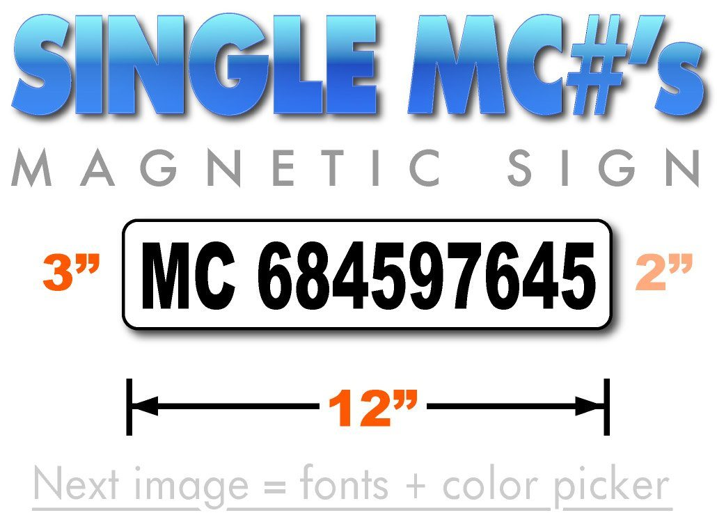 MC number magnet for motor carrier operating authority
