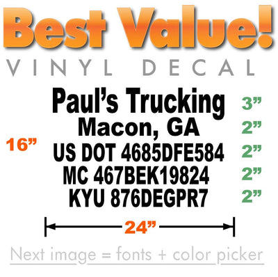 5 line custom us dot number decls for commercial vehicles