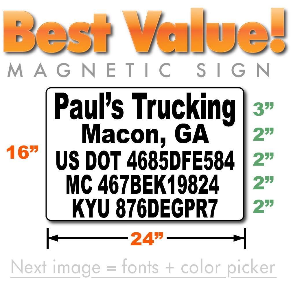 Large USDOT magnetic sign with company name & number