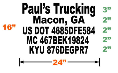 USDOT Number Decal - 5 lines of Lettering | 24x16