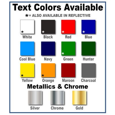 colors available for usdot number decals