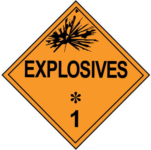 Class 1 explosives hazardous materials identification placard