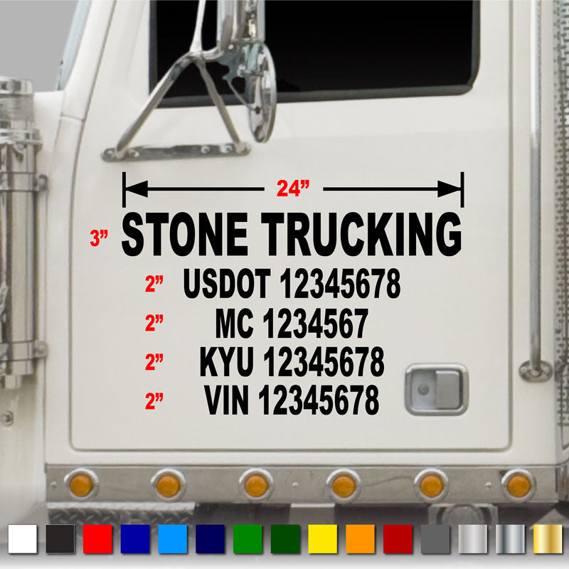 5 line usdot truck number decal includes company name usdot number mc number kyu number vin number