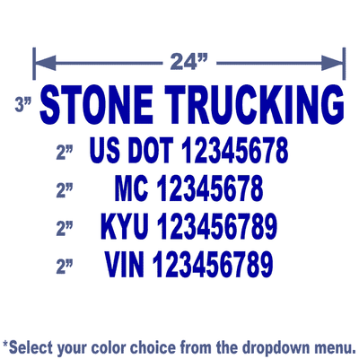 blue usdot number stickers with 5 lines of text
