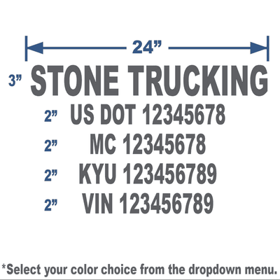 grey usdot number stickers with 5 lines of text